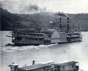 Steam boat Cincinnati traveling from Cincinnati to Louisville past Rabbit Hash
